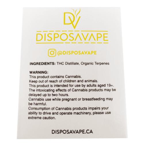 Super Lemon Haze pod by disposavape ingredients