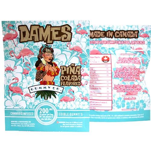 200mg THC Piña Colada Gummies by Dames