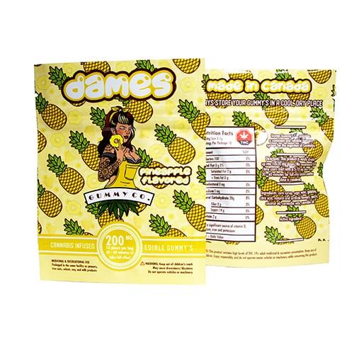 200mg THC Pineapple Gummies by Dames